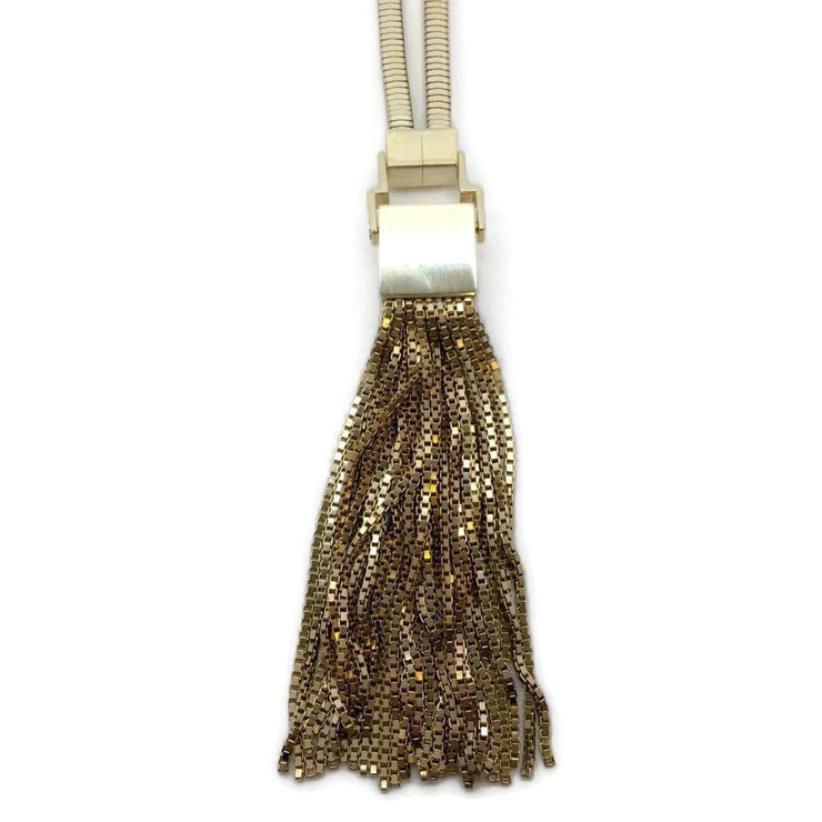 Lanvin Gold Fringe Lariat Necklace