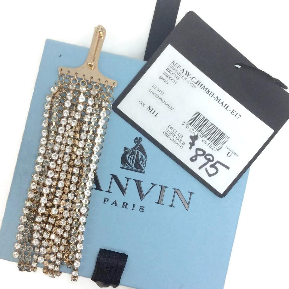 Lanvin Gold Crystal Fringed Brooch