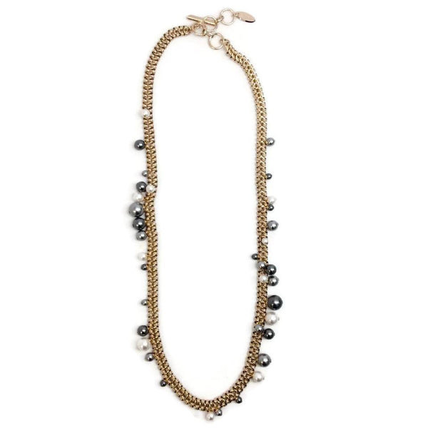 Lanvin Gold / White / Grey Sautoir Necklace