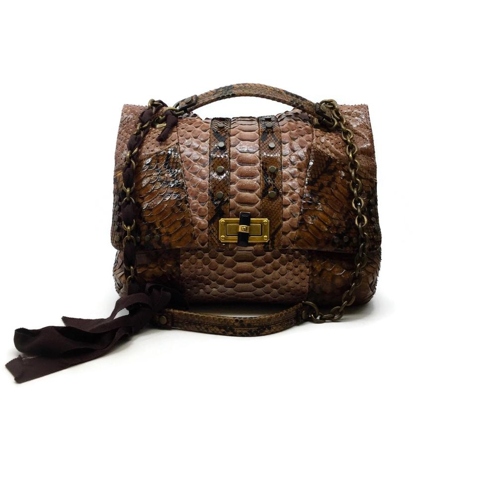 Lanvin Python Brown Snakeskin Leather Shoulder Bag
