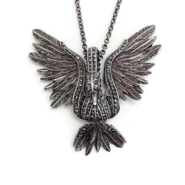 Lanvin Silver Aged Swan Necklace