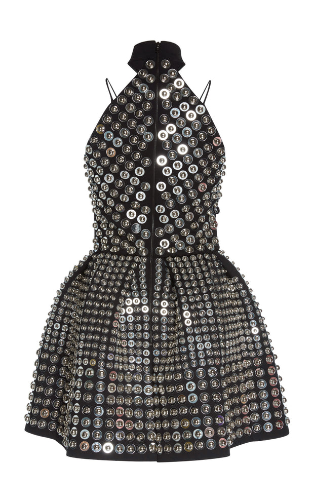 David Koma Black / Silver Embellished Halter Neck Dress