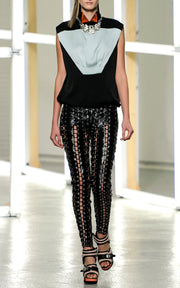 Rodarte Black Grommeted Lace Up Leather Pants