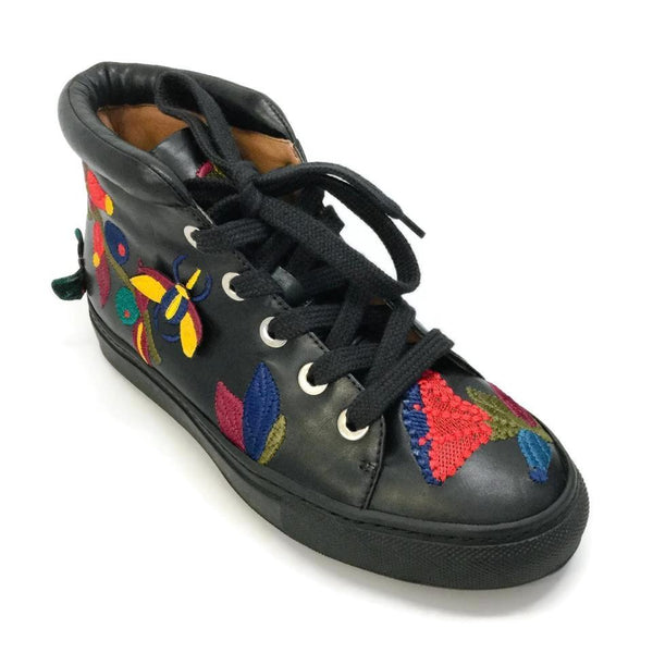 Laurence Dacade Black / Embroidered High Bagatelle Sneakers