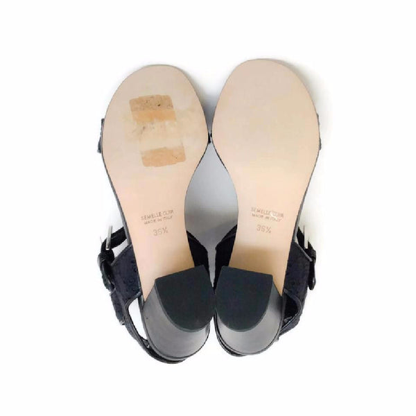 Diane Embroidery Black Sandals by Laurence Dacade 36.5
