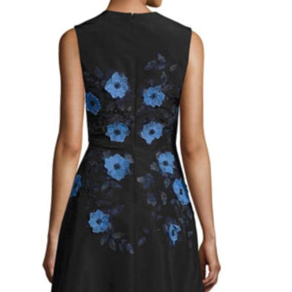 Lela Rose Black W/Blue Appliqués Embroidered Dress