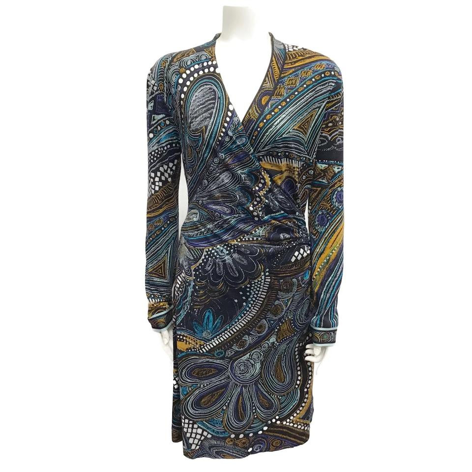 Leonard Paris Multi-color Faux Wrap Dress