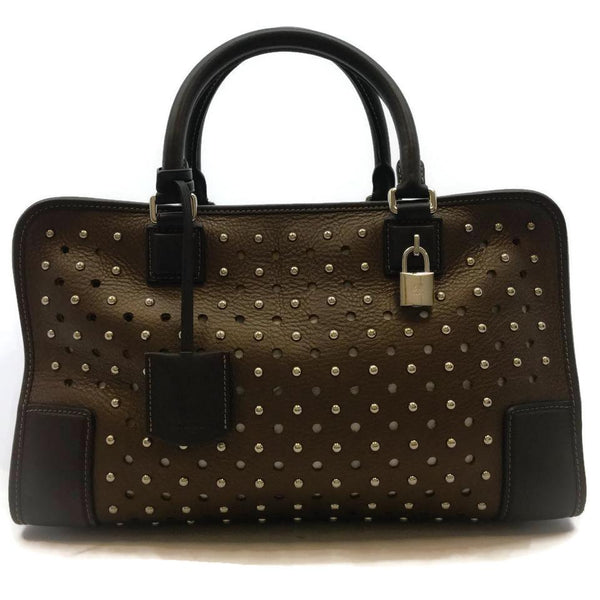 Loewe Perforated Brown Leather Satchel