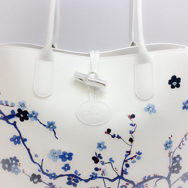 Roseau Sakura Navy Tote Bag by Longchamp front