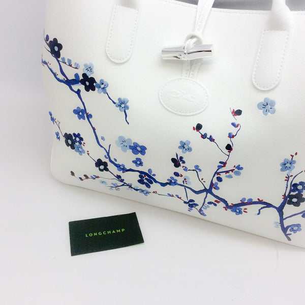 Roseau Sakura Navy Tote Bag by Longchamp with tag