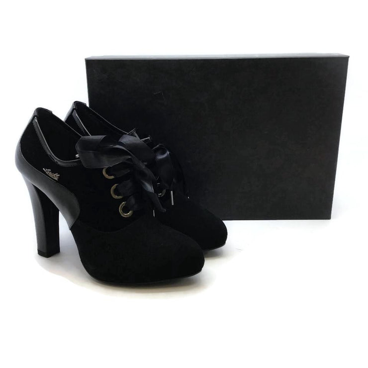 LORIBLU Black Velvet Oxford Pumps