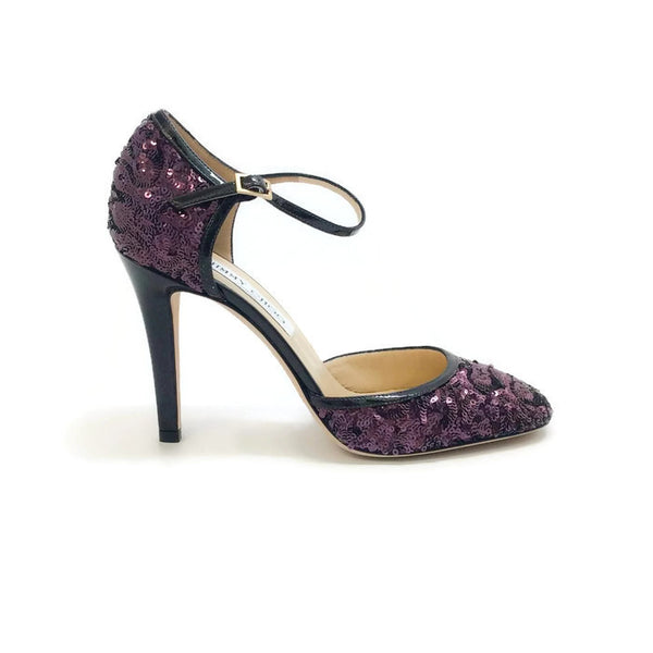 Tessa Plum Sequin Pumps by Jimmy Choo outside