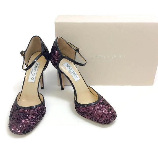 Tessa Plum Sequin Pumps by Jimmy Choo with box