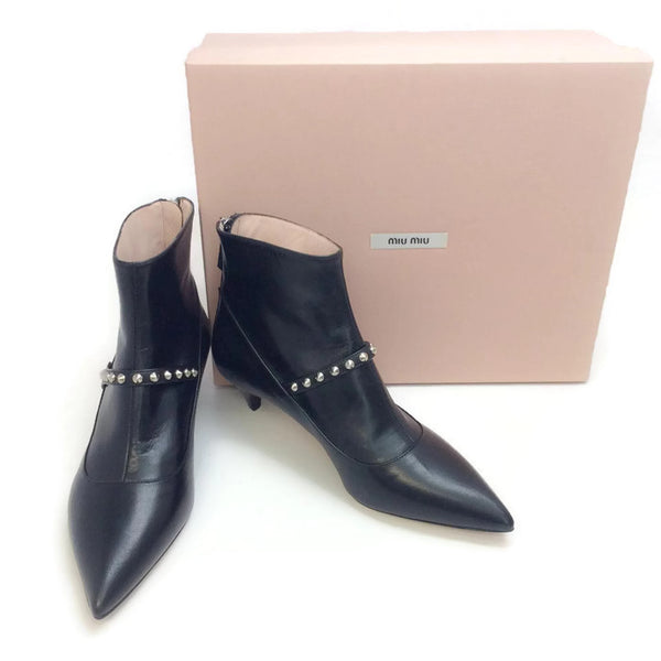 Studded Ankle Booties by Miu Miu with box