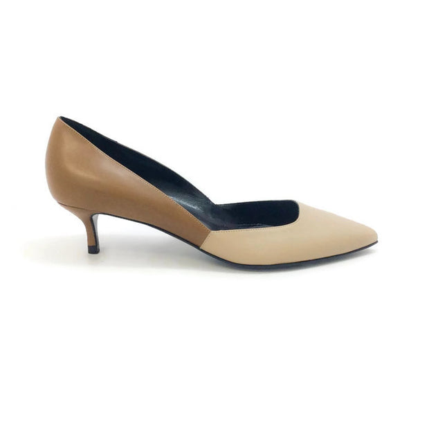 Two-toned Kitten Heel Beige / Camel by Pierre Hardy outside
