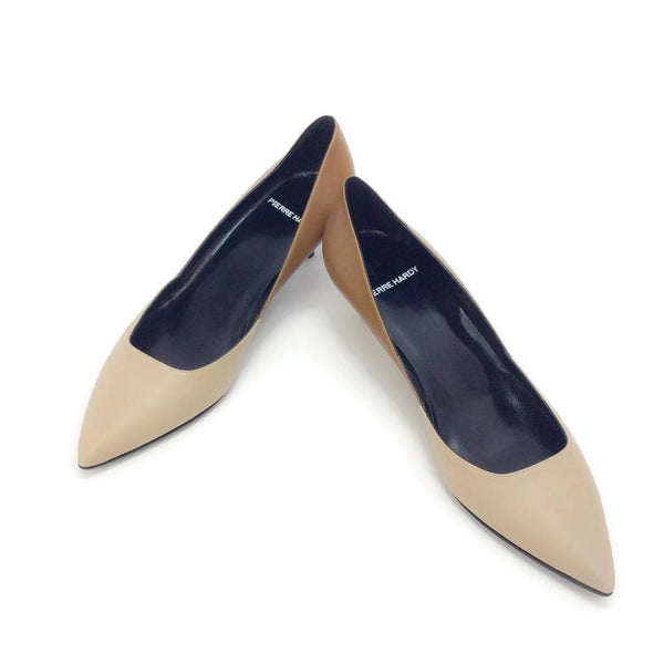 Two-toned Kitten Heel Beige / Camel by Pierre Hardy pair