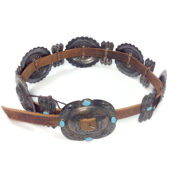 Vintage Turquoise / Sterling Silver Concho Belt