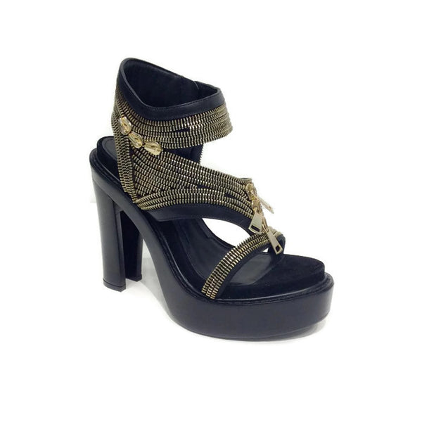 Zipper Platform Black Sandals by Givenchy