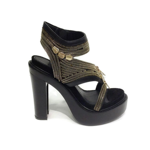 Zipper Platform Black Sandals by Givenchy outside