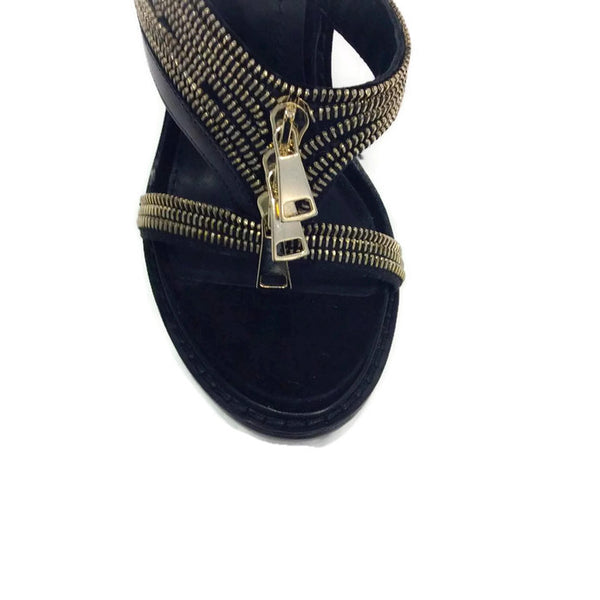 Zipper Platform Black Sandals by Givenchy toe