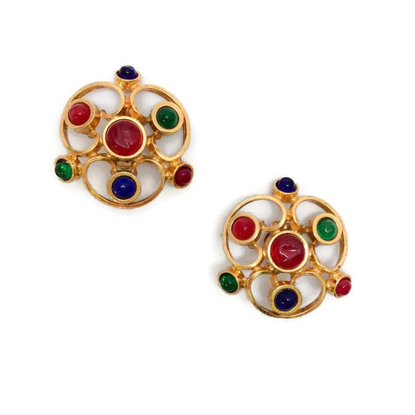 VIntage 1970's Multi Gripoix Earrings by Chanel