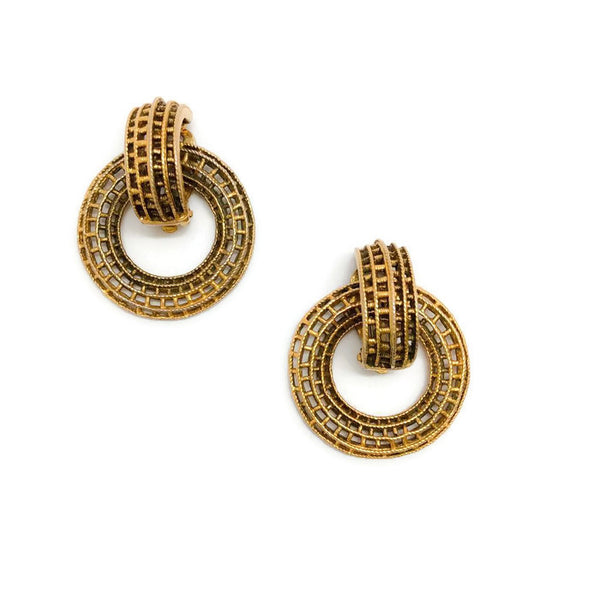 Vintage 1970's Gold Circle Earrings by Chanel