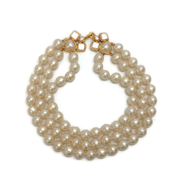 Vintage 1991 Triple Pearl Necklace by Chanel