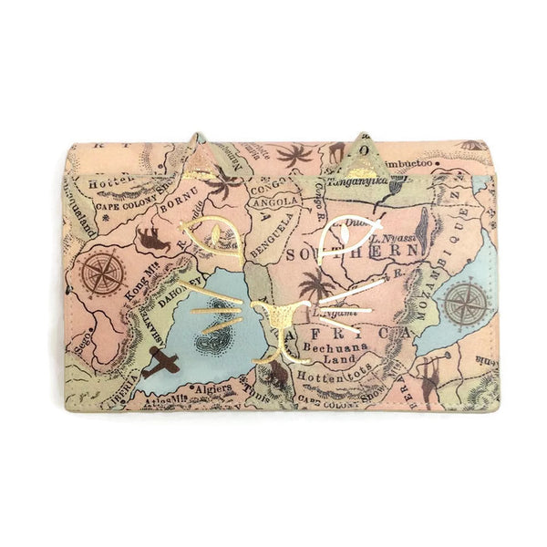 Cat With Map Print Cross Body Bag by Charlotte Olympia