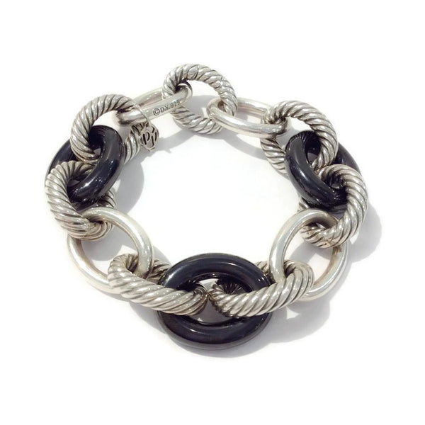 Extra-Large Oval Link Bracelet with Black Ceramic by David Yurman