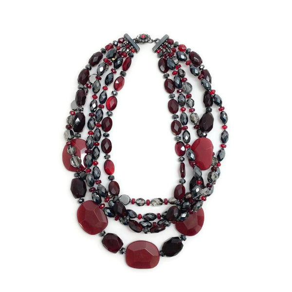 Carnelian, Crystal, and Glass Multi-Strand Necklace by Jose & Maria Barrera