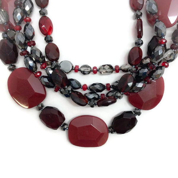 Carnelian, Crystal, and Glass Multi-Strand Necklace by Jose & Maria Barrera detail