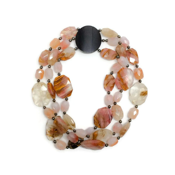 Faceted Quartz Necklace With Wood Clasp by Giorgio Armani