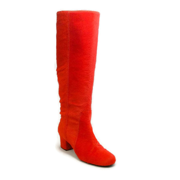 Pony Hair Heeled Orange Boots by Lanvin