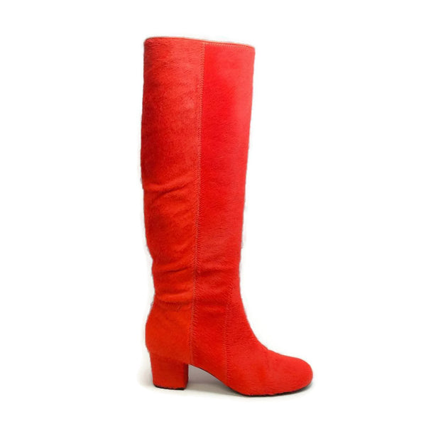 Pony Hair Heeled Orange Boots by Lanvin outside