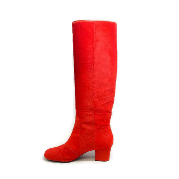 Pony Hair Heeled Orange Boots by Lanvin inside
