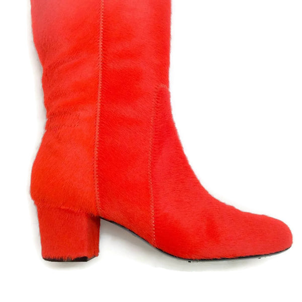 Pony Hair Heeled Orange Boots by Lanvin heel