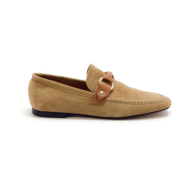 Farlow Suede Camel Loafers by Isabel Marant outside