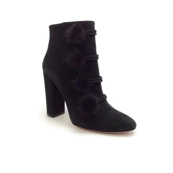 Ulyana Black Suede Booties by Aquazzura