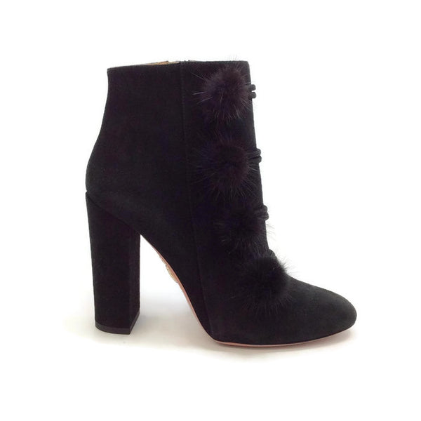 Ulyana Black Suede Booties by Aquazzura outside
