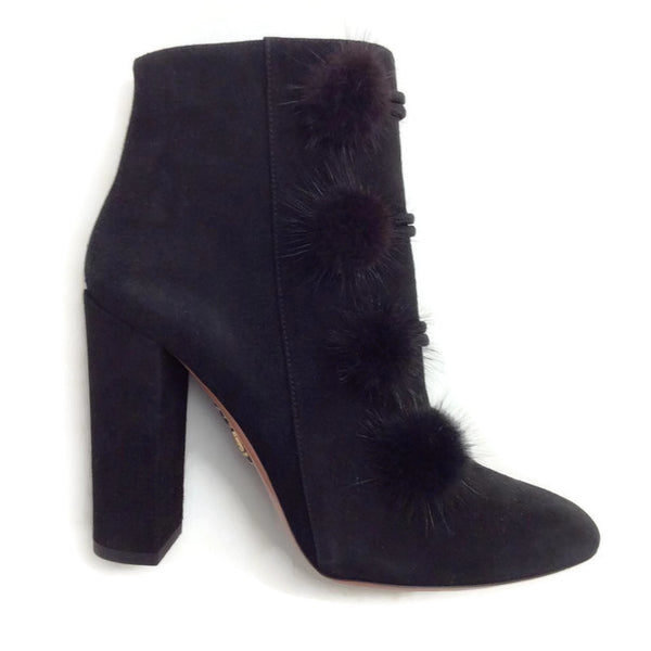 Ulyana Black Suede Booties by Aquazzura mink