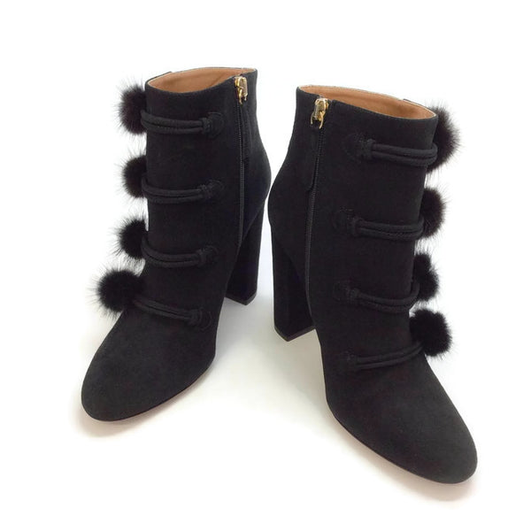 Ulyana Black Suede Booties by Aquazzura pair