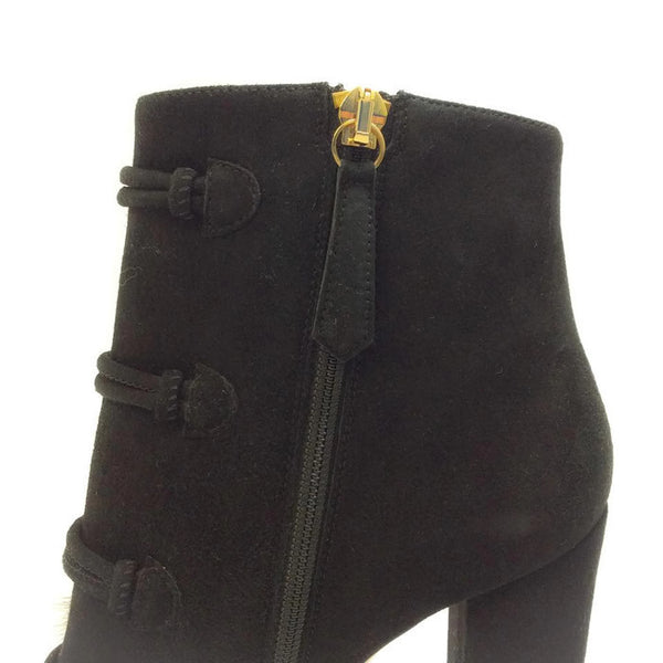 Ulyana Black Suede Booties by Aquazzura zipper
