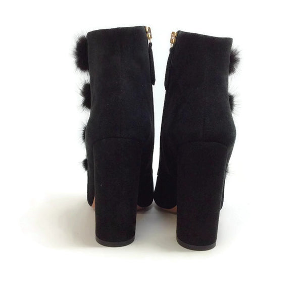 Ulyana Black Suede Booties by Aquazzura back