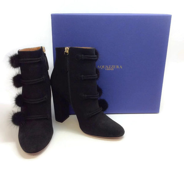 Ulyana Black Suede Booties by Aquazzura with box