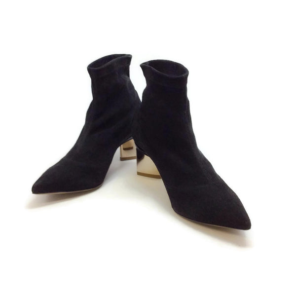 Stretch With Gold Heel Booties by Nicholas Kirkwood pair