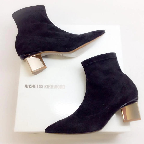 Stretch With Gold Heel Booties by Nicholas Kirkwood  with box