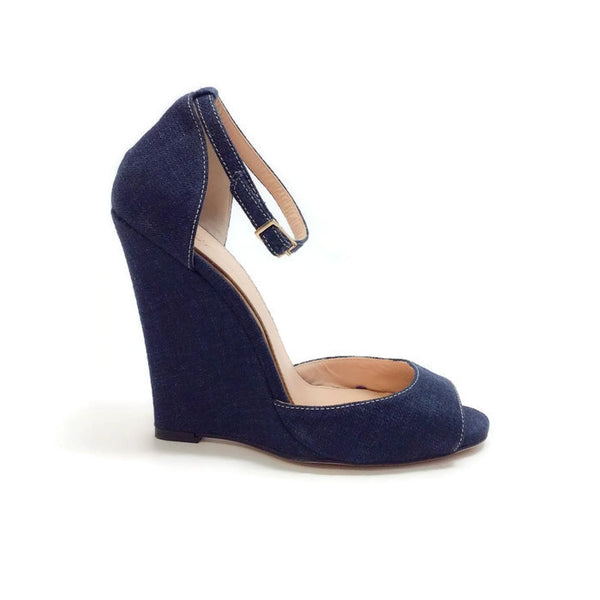 Denim Wedges by Les Copains outside