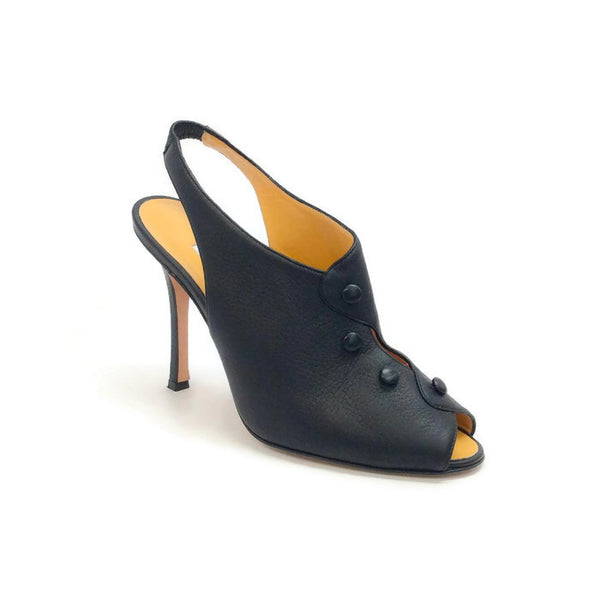 Button Slingback Black Pumps by Manolo Blahnik