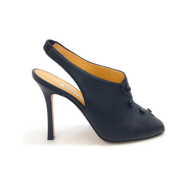 Button Slingback Black Pumps by Manolo Blahnik outside