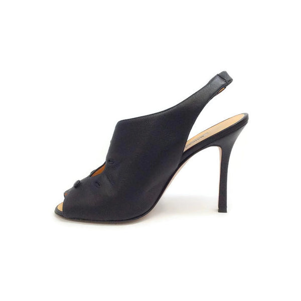 Button Slingback Black Pumps by Manolo Blahnik inside